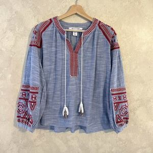 Belle Vere Blue Embroidered Balloon Sleeve Top